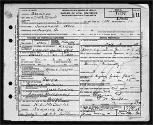 Josephine McDaniel West Death Certificate