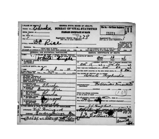 G C Rice Death Certificate
