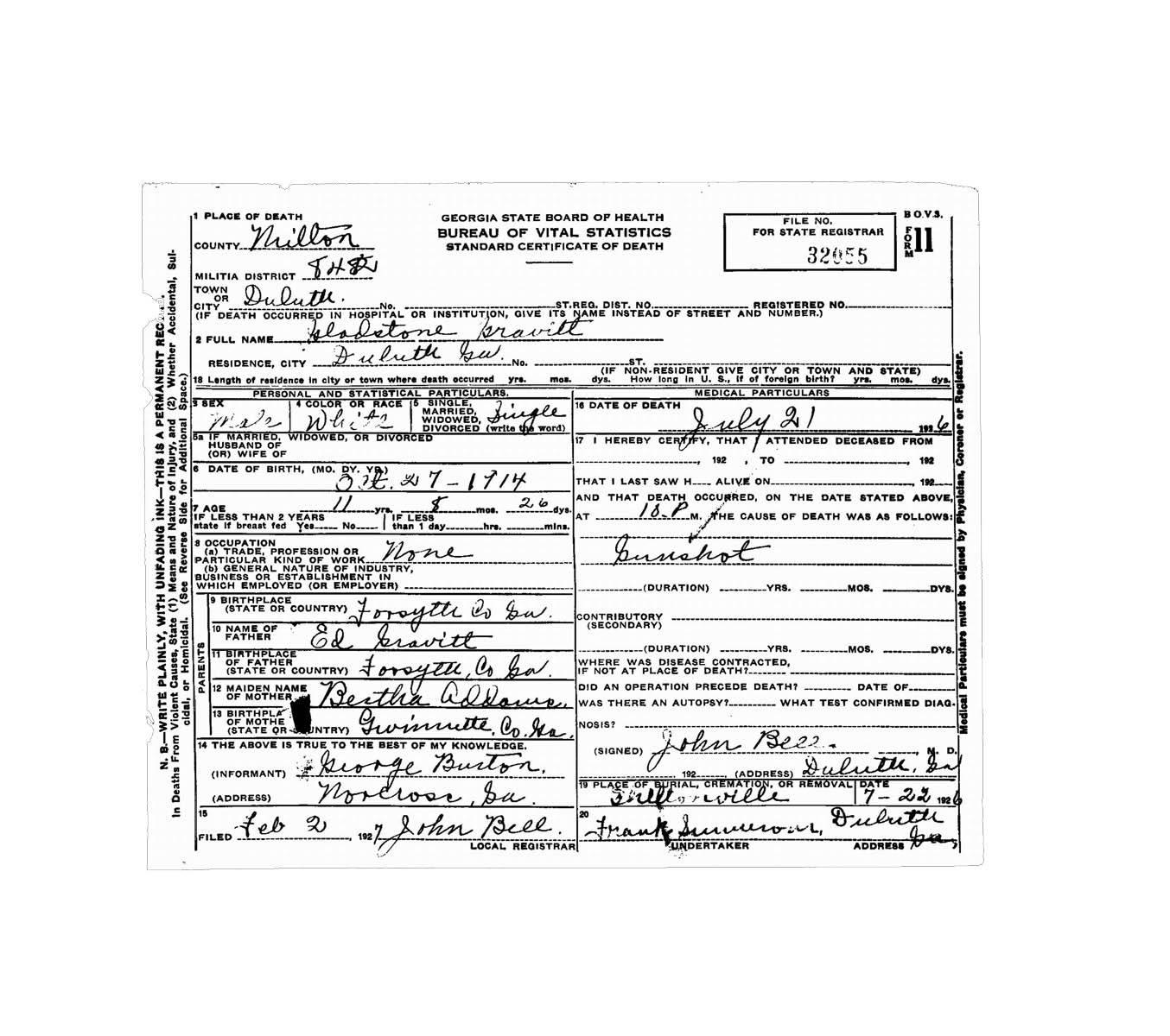 Wednesdays Child Gladstone Gravitt Cause Of Death Gunshot