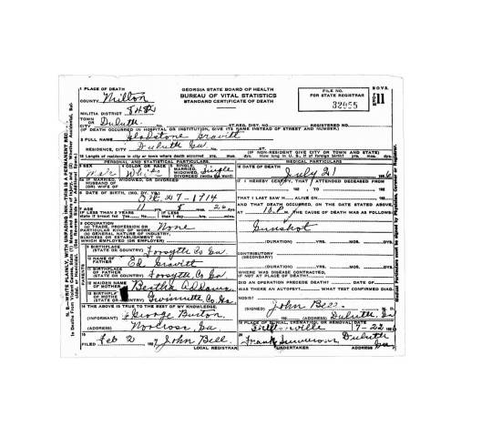 Courtesy of the Georgia Archives online Death Certificate Database