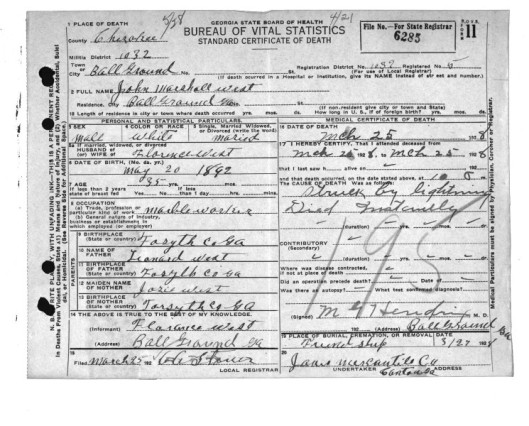John M. West's Death Certificate, Courtesy of the Georgia Archives
