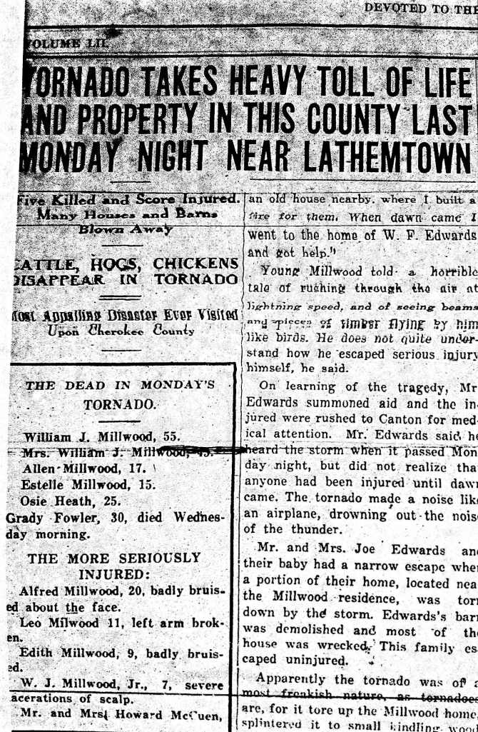 From the Cherokee Advance, Friday, March 30, 1928