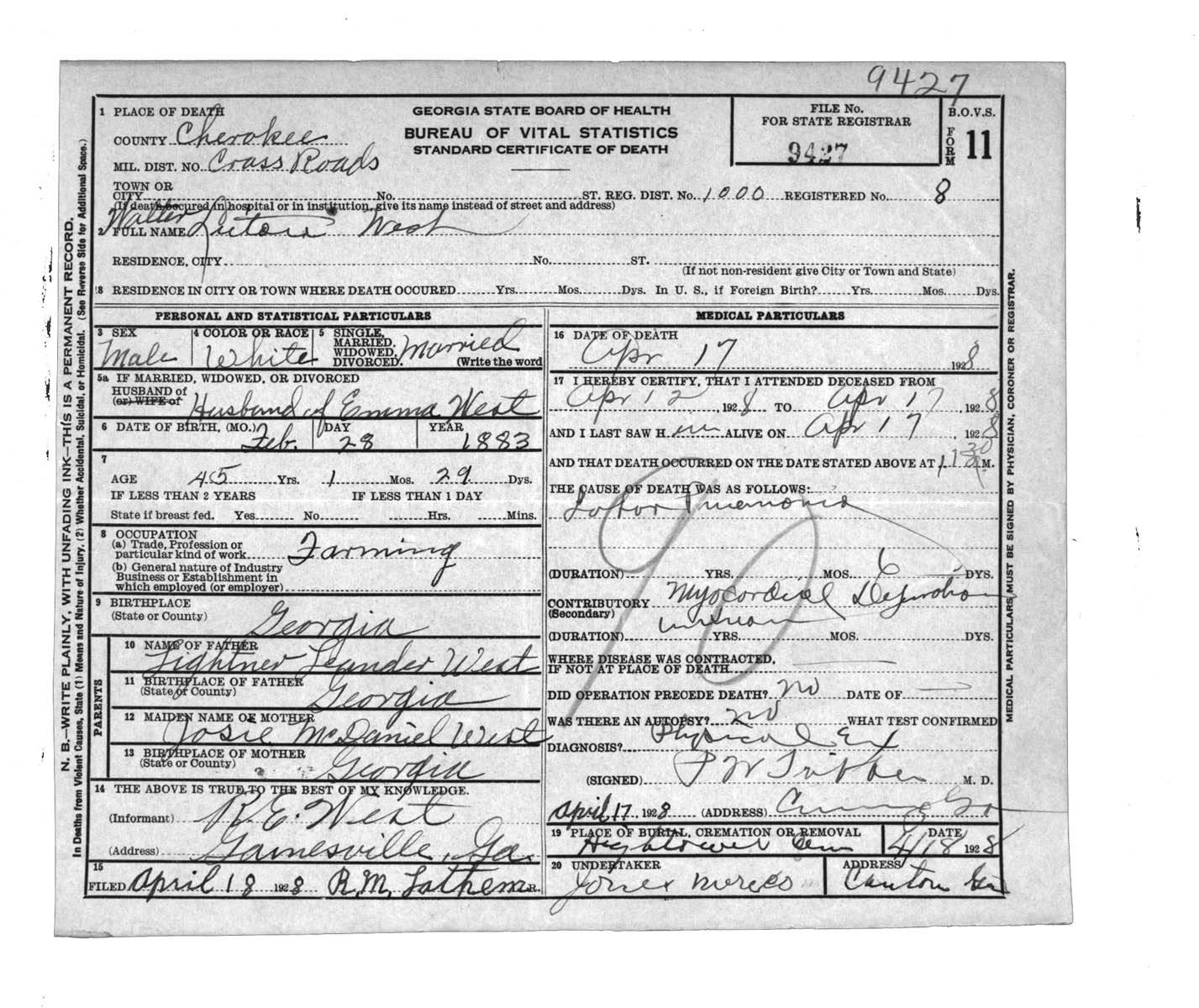 Cherokee county georgia jennealogy my great grandfathers death certificate xflitez Images