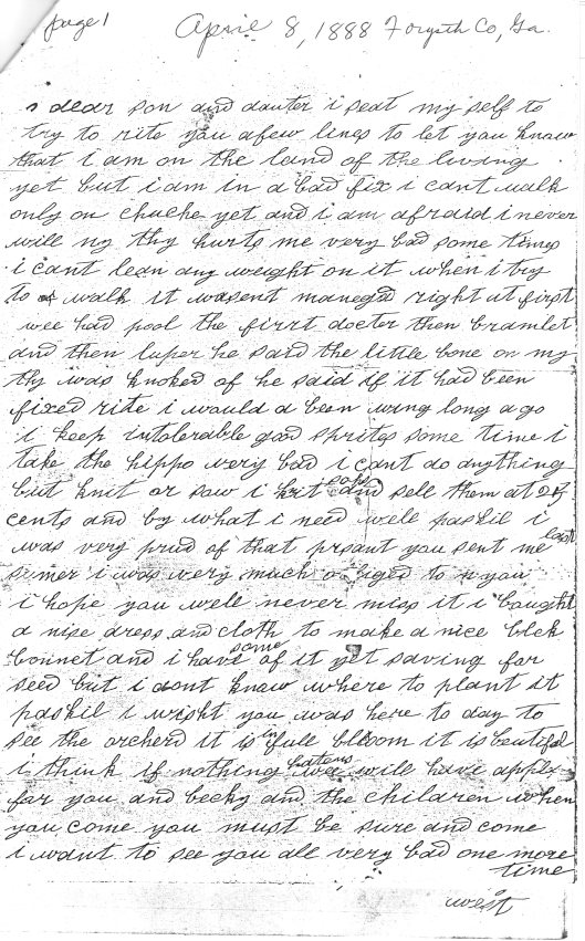 Letter from Jennet West to Paschal P. West 1888