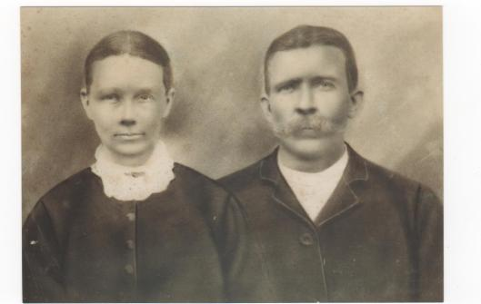 Paschal P. West and wife Rebecca (Westray) West, c. late 1860's, probably in Forsyth County, Georgia before they moved to Arkansas (Image Courtesy of Ron West)