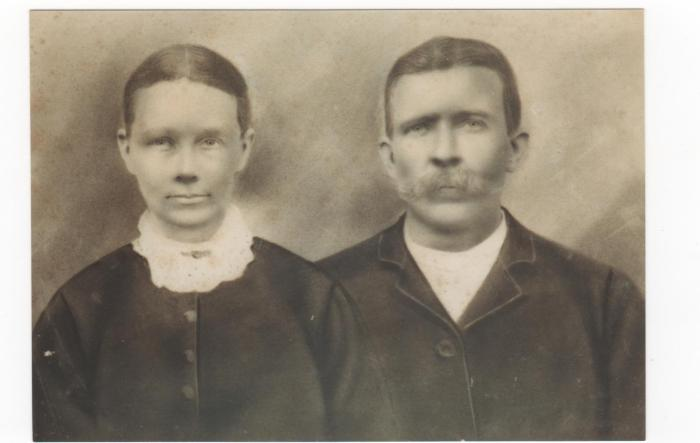 Letter recipients Paschal P. West and wife Rebecca (Westray) West, c. late 1860's, probably in Forsyth County, Georgia before they moved to Arkansas (Image Courtesy of Ron West)