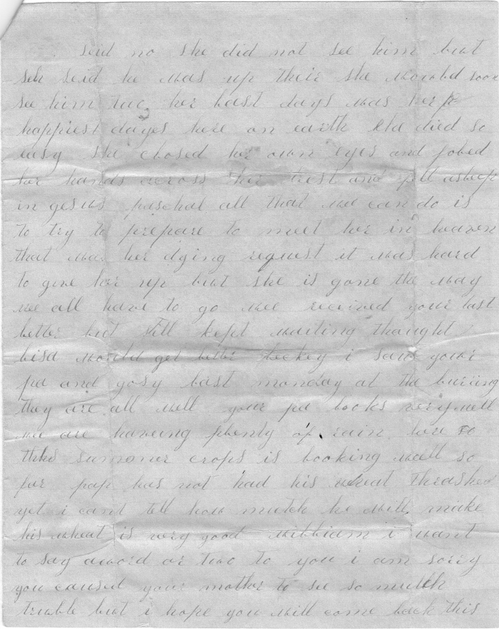 Letter: Edith West Harris to Paschal P. West, 1882, page 3