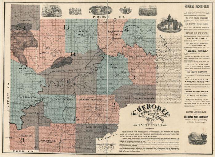 1895 Cherokee County GA Map