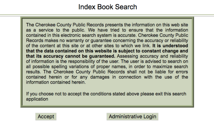 Cherokee County GA Index Book Search
